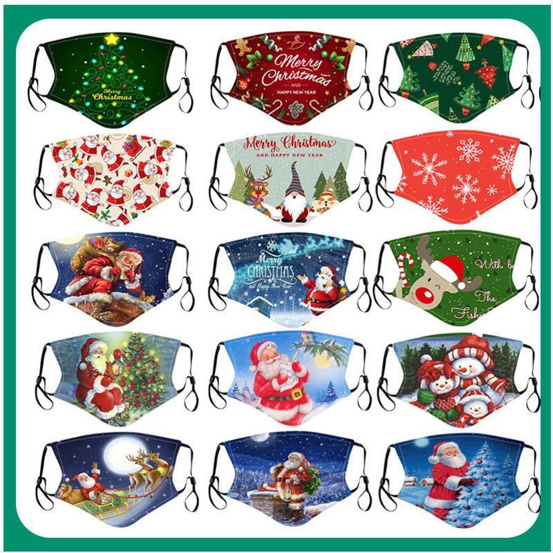 여성 마스크 디자이너 2020 크리스마스 패턴 편지 인쇄 코튼 컬러 미국 인쇄 천 먼지 패션 마스크