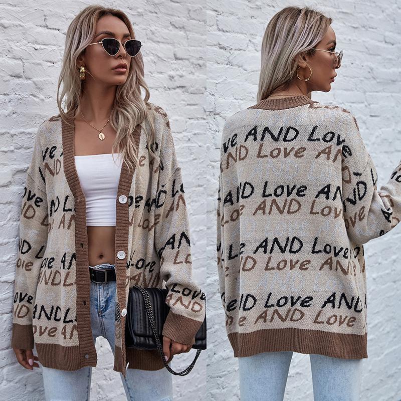 Suéter Chaqueta Cárdigan de Estilo Perezoso Para Mujer, Maxi Europea y Americana Ropa Holgada, 2020
