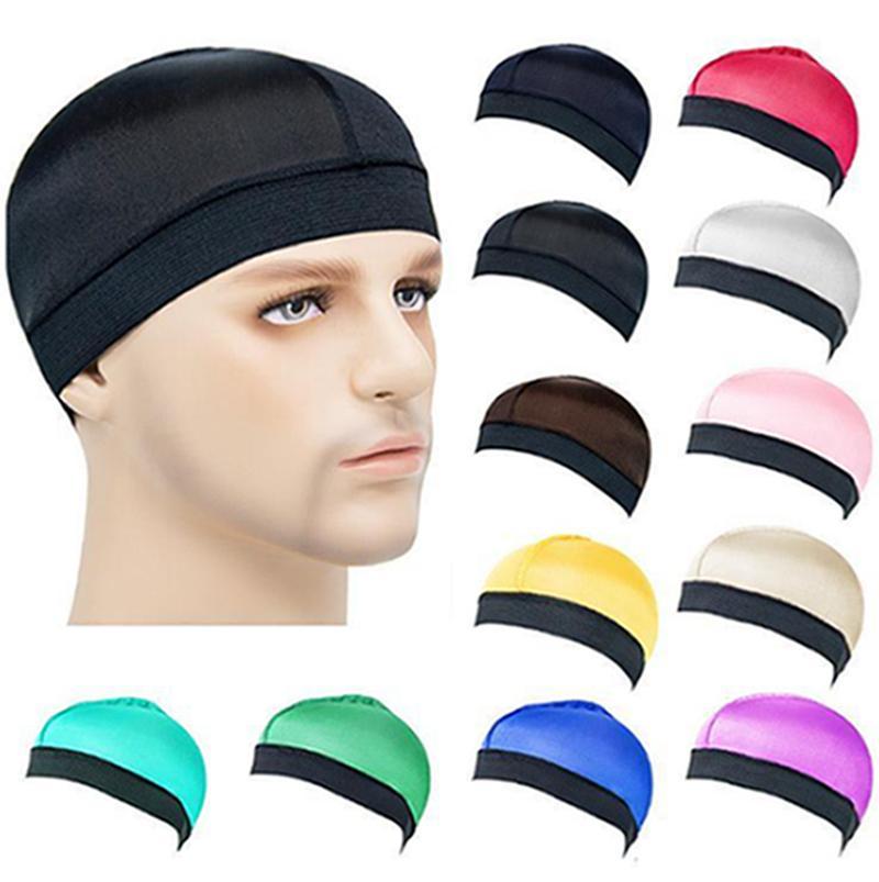12 colori parrucca Cappuccio in poliestere invisibile Cappucci per capelli in poliestere Elastici da uomo Ampia Cappello rotondo Torta Base Solid Color Color Cap Nightcap Iia902