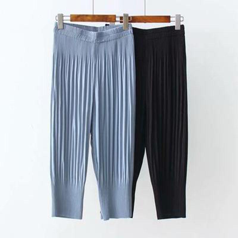 Женские брюки каприз плиссированный плюс размер 5XL летняя теленка тонкий шифон женская высокая талия стройные женские брюки эластичные брюки3421