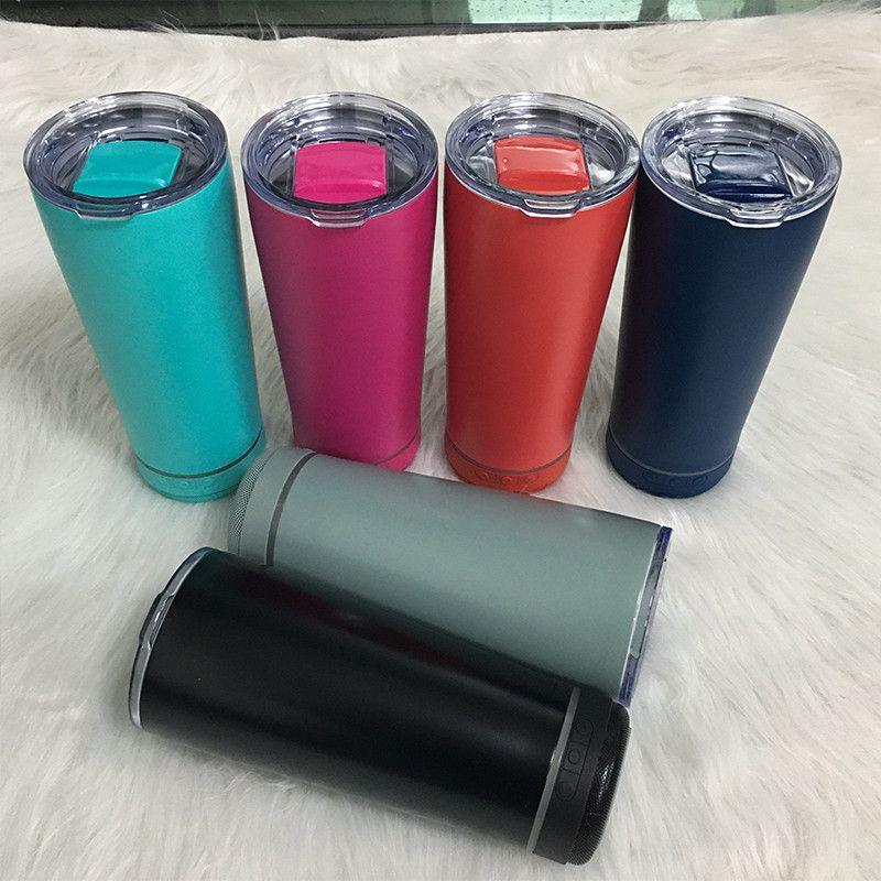 8 Couleurs 18oz Smart Water Bottle Board Haut-parleur en acier inoxydable Music Tumbler Wireless Chargement en plein air Tasse portable en plein air pour voyager à la maison