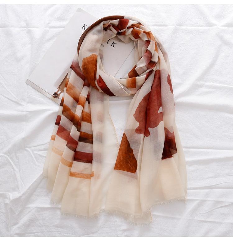 2021 Baumwollgeometrie Drucken Franched Scarves Tücher Wrap Frauen Weichstreifen Schal Hijab Beach Stirnband 3 Farbe Freies Verschiffen