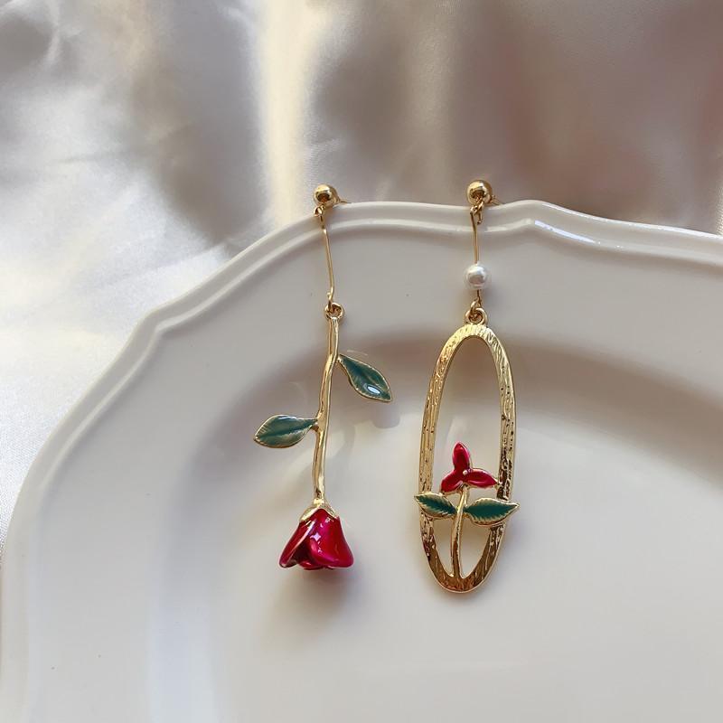 Böhmen Metall Geometrische asymmetrische grüne grüne rote rose pearl baumeln ohrringe elegante vintage quaste ohrringe frauen