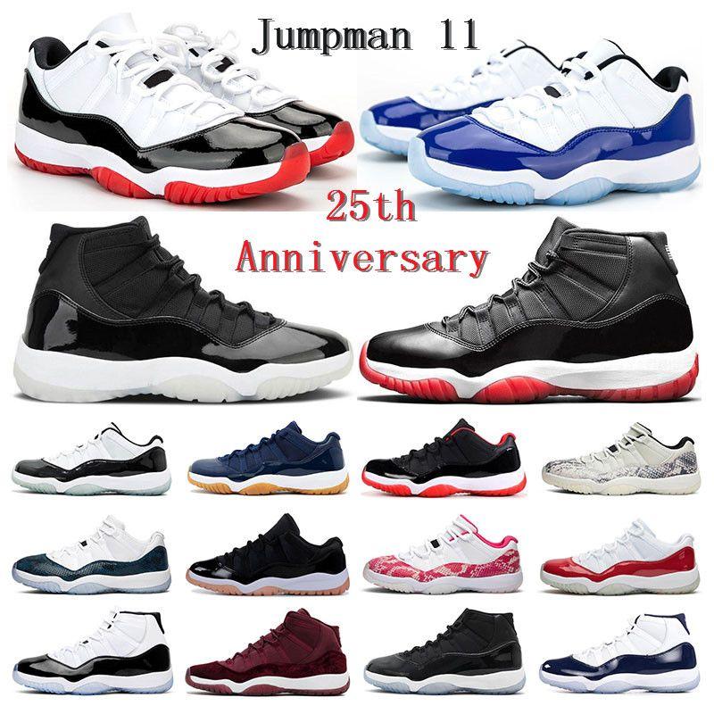 2021 Mens 농구 신발 11s jumpman 11 전설 블루 콩코드 45 25 주년 기념 화이트 브리드 낮은 여자 트레이너 스포츠 운동화 크기 5.5-13