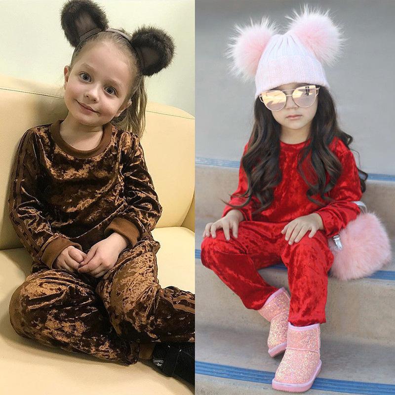 Goldener Velvet-Käufer Show! Baby Jungen Kleidung Sets Kinder Mädchen Trainingsanzüge Sport Anzug Fleecejacke Mädchen Casual Set 0-4YEARS