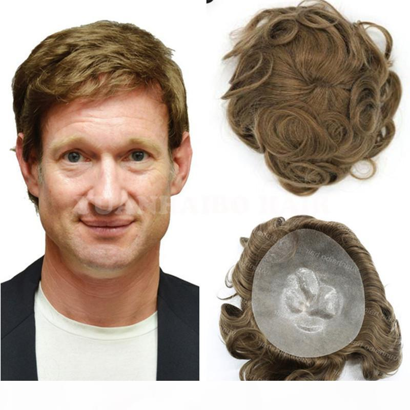 Neue Verkaufs 6inch hellbraun brasilianisches Haar lose PU-dünne Haut Basis Männer Haar Toupet freies Verschiffen Welle