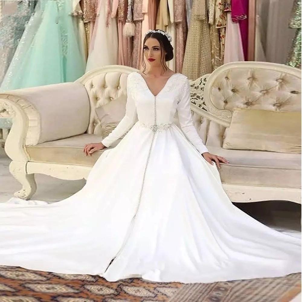 Beyaz Fas Kaftan Müslüman Gelinlik 2021 Robe De Mariee Dantel Saten Zarif Gelinlikler Uzun Kollu A-Line Gelin Evlilik Elbise