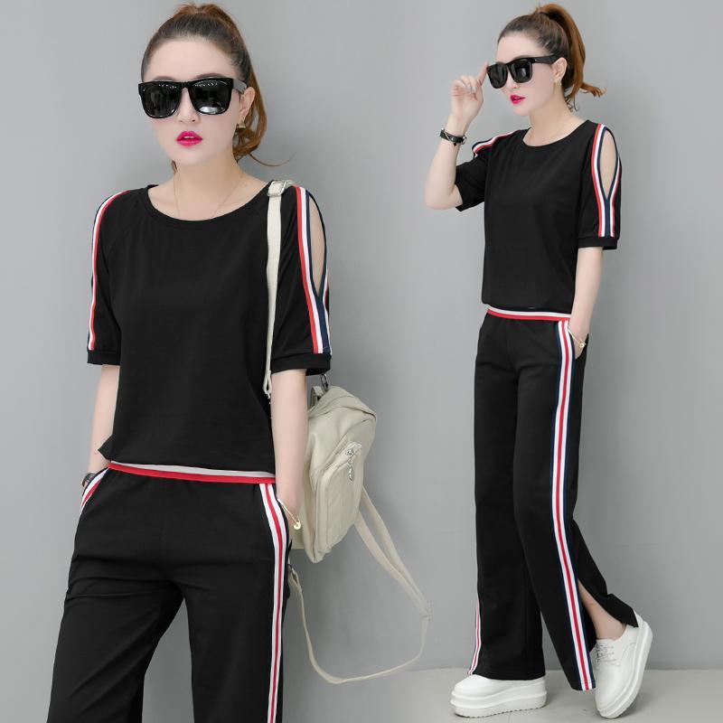 Yiciya Yeşil Eşofman Kadınlar için Kıyafet Spor CO-Ord Setleri 2 Parça Set Artı Boyutu 2020 Yaz Çizgili Kapalı Omuz Giyim T200623
