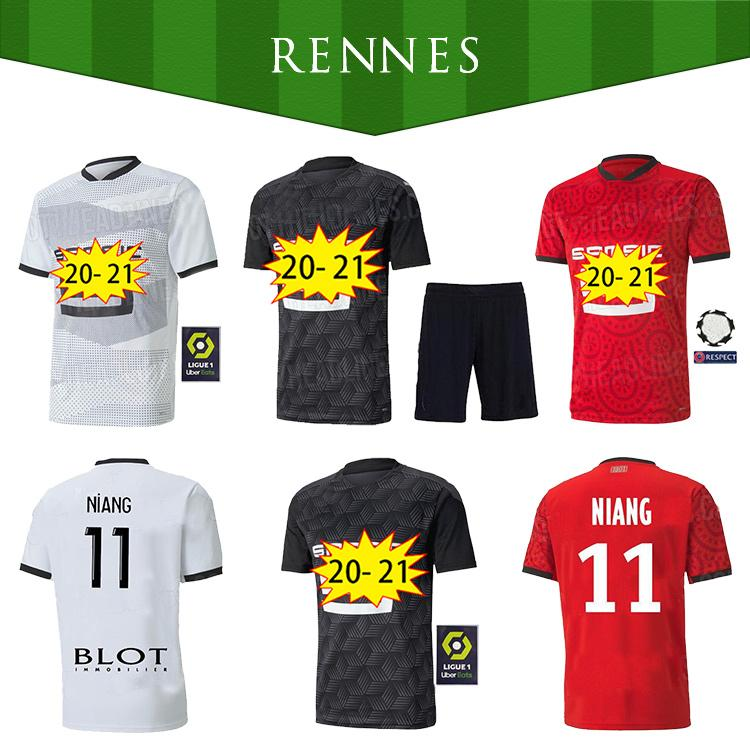 2021 Rennes Soccer Jersey 2020 2021 28 Raphinha Niang Terrier J.Martin Stade Rennais FC Bourigeaud Home Aleat Men Kit Kit Kit de fútbol Camisetas