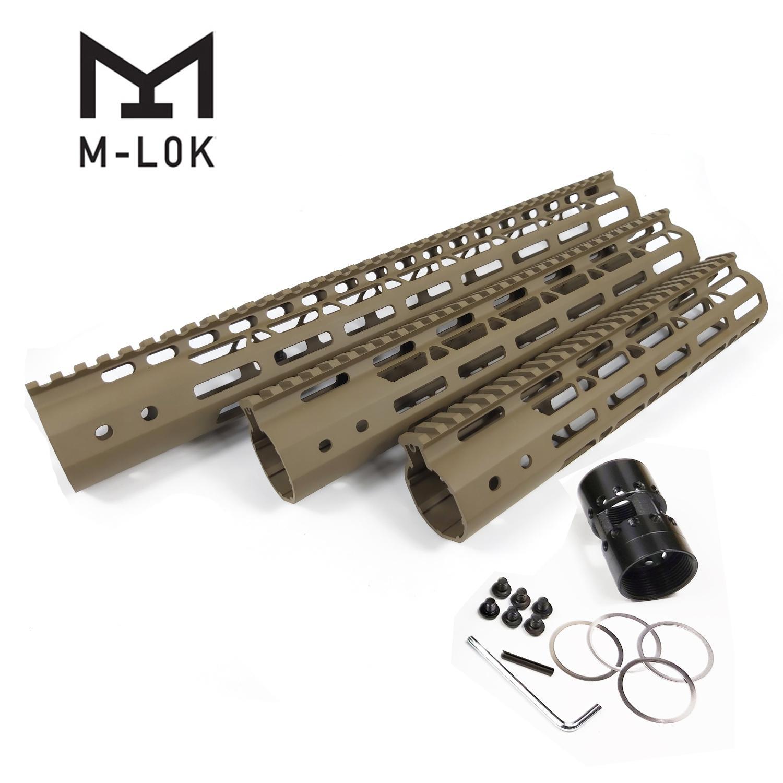 10/12/15 pouce M-LOK Système de montage à flotteur sans rail pour .223 / 5.56 Couleur de la terre foncée plate