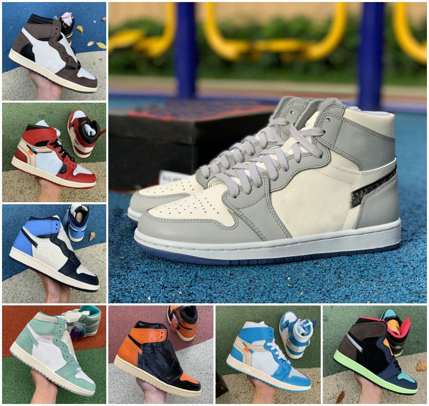 University Blue Hype Royal 1s Jumpman 1 Sapatos de Basquete Court roxo Mocha Escuro Torção Obsidiana UNC Pinho Green Sports Outdoor Mens Mulheres Sneakers
