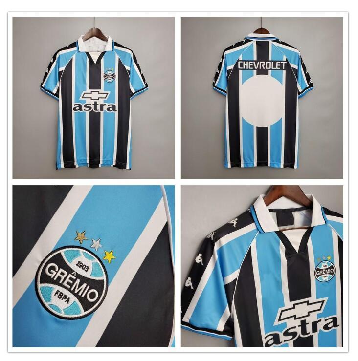 2000 2001 Retro Gremio Soccer Jerseys Personalizzato Qualsiasi Nome Numero Vintage 00 01 Gremio Home Blu Camicia da calcio Bianco Blu Camisetas de Futbol