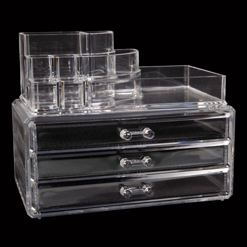 Cassetti rettangolari a 3 strati che risparmiano cassetti a 3 strati in plastica per il trucco trasparente