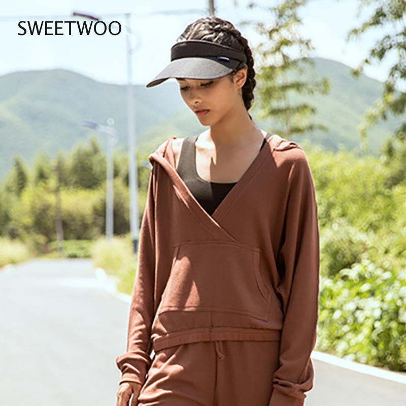 الجمنازيوم الملابس القطن المرأة هوديي دافئ تشغيل التدريب البلوز فضفاض البلوز الرياضة لينة ارتداء الخامس الرقبة سترة اليوغا سترة