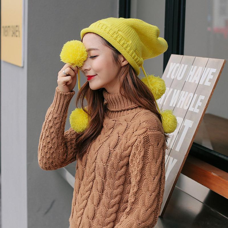 Beanie / Kafatası Kadınlar Için Şapka Açık Kış Sıcak NO Brim Cap Cep Cep Katı Renk 4 Yün Top Akrilik Örgü