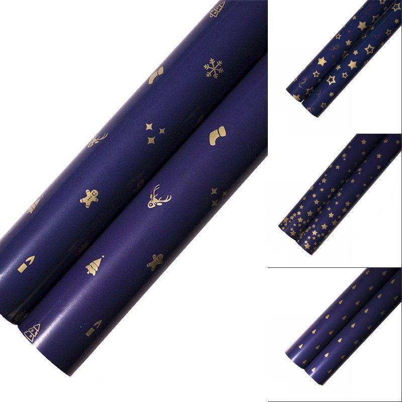 Regalo wrap imballaggio carta metallizzato colore scuro blu stampa carte d'oro 73 * 51 cm albero di Natale fiocco di neve modello decorativo 0 66WK N2