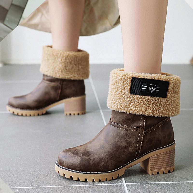 Aiweiyi Kış Kar Botları Sıcak Ayakkabı Tutmak Kadınlar Kare Topuk Yüksek Topuklu Çizmeler Moda Kürk Sıcak Marka Kadın Ayak Bileği Botas
