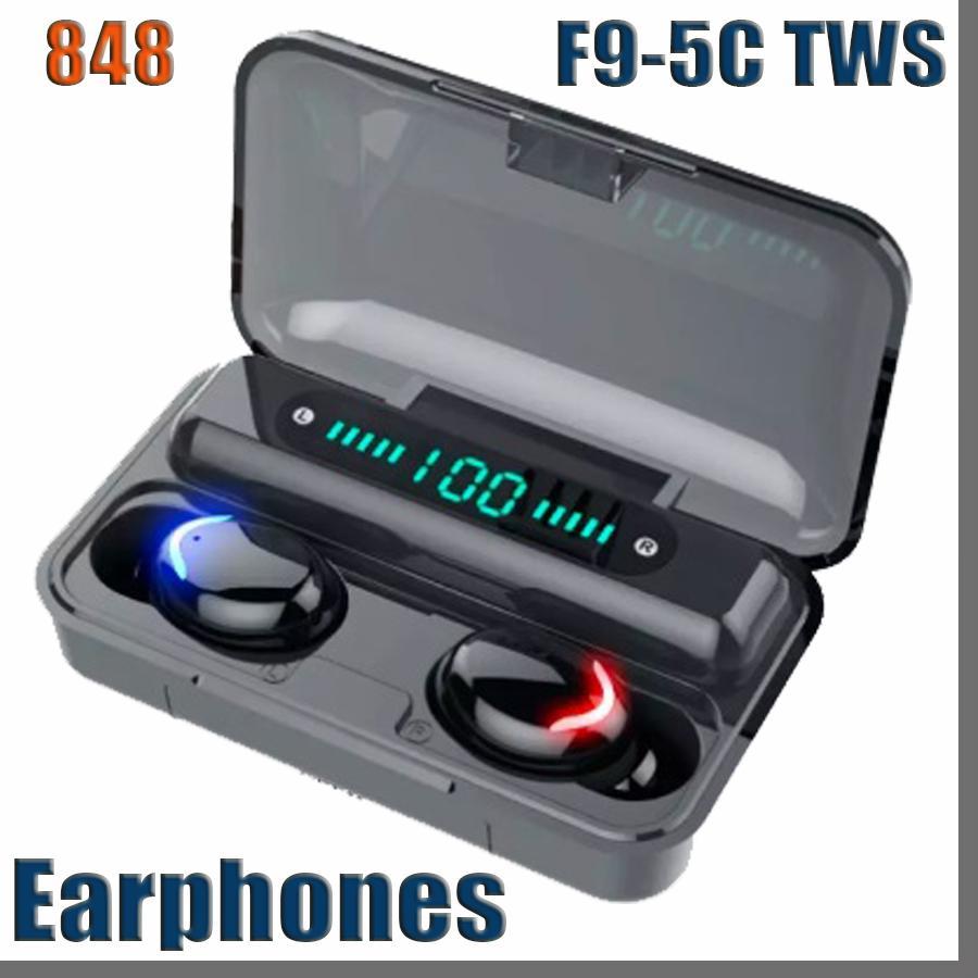 f9-5c TWS Bluetooth 5.0 Wireless Headphones Earphones 9D Stereo Sport Waterproof Wireless Earphone Touch Control Headset earbuds 848D