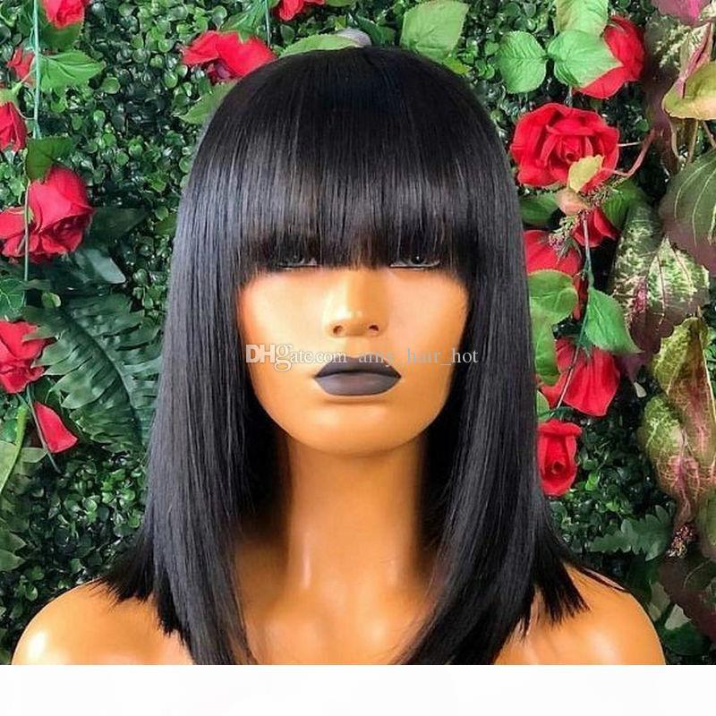 Shot Bob Wigs With Bangs 5x5 Silk Top Lace Front Human Hair Wigs For Women Brazilian 150% Blunt Cut Bob Wig With Fringe