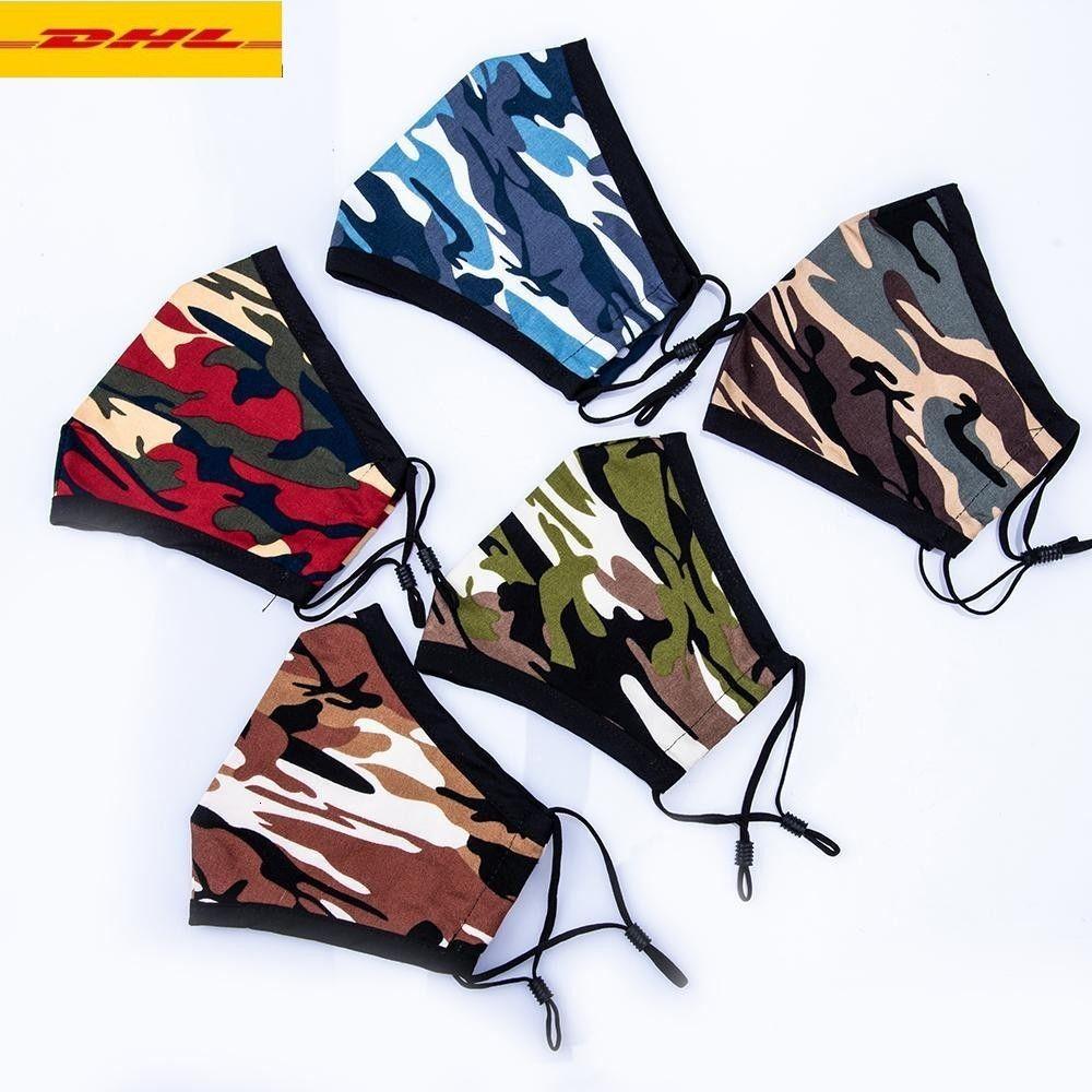 США запас! Camo Fashion Designer Masks PM2.5 Маска Главная Складная Складная ткань Респираторы хлопчатобумажные Маски для лица