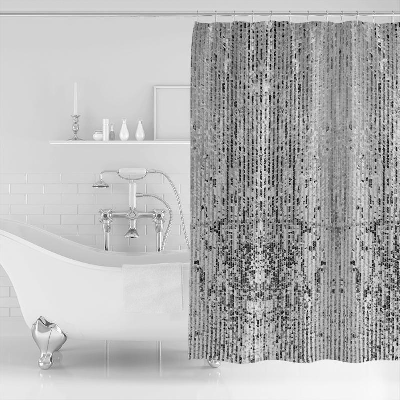 Placa de prata de lantejoulas retangular textura brilhante cortina de chuveiro de poliéster à prova d'água cortina