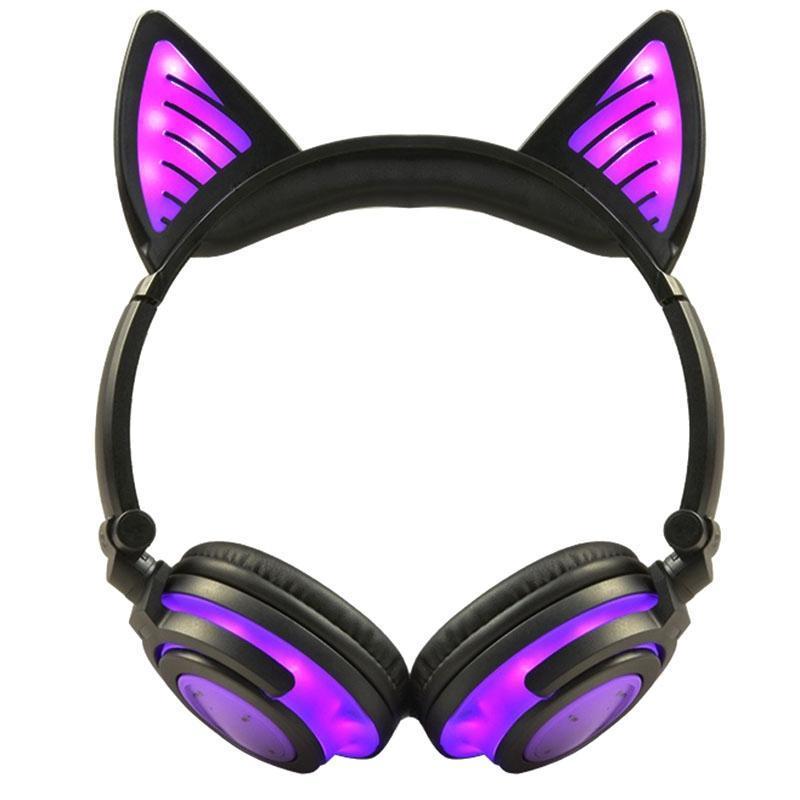 Écouteur Bluetooth sans fil pliable clignotant chat oreille de chat oreillettes casque de jeu oreillette de jeu avec LED lumière violet