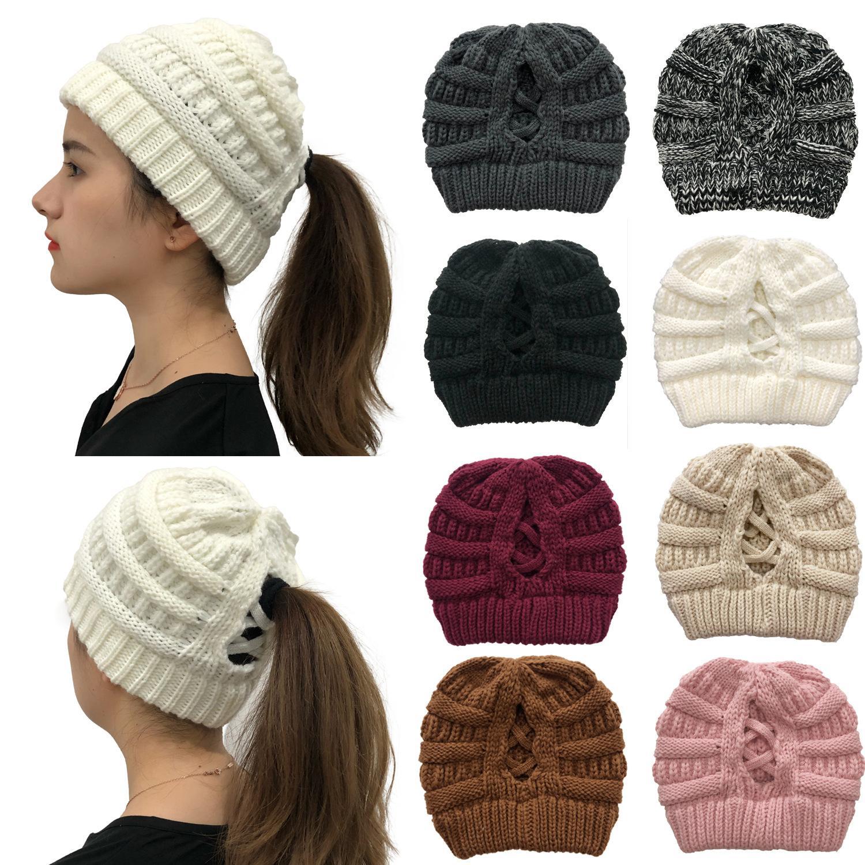 2020 جديد أزياء الصليب ذيل حصان محبوك قبعة الظهر فتح السيدات الصوف الشتاء الدافئ قبعة النساء مصممين قبعة القبعات