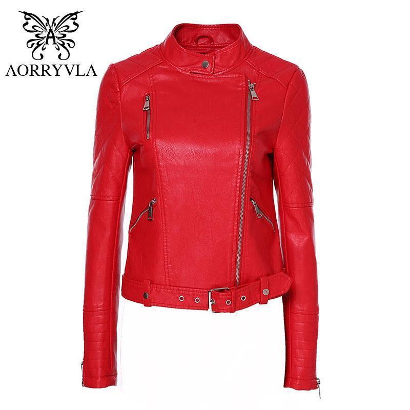 Aorryvla Yeni Kırmızı PU Faux Deri Ceket Kadınlar Klasik Moto Biker Ceket Mandarin Yaka Bahar Sonbahar Bayan Temel Coat Kemer Ile