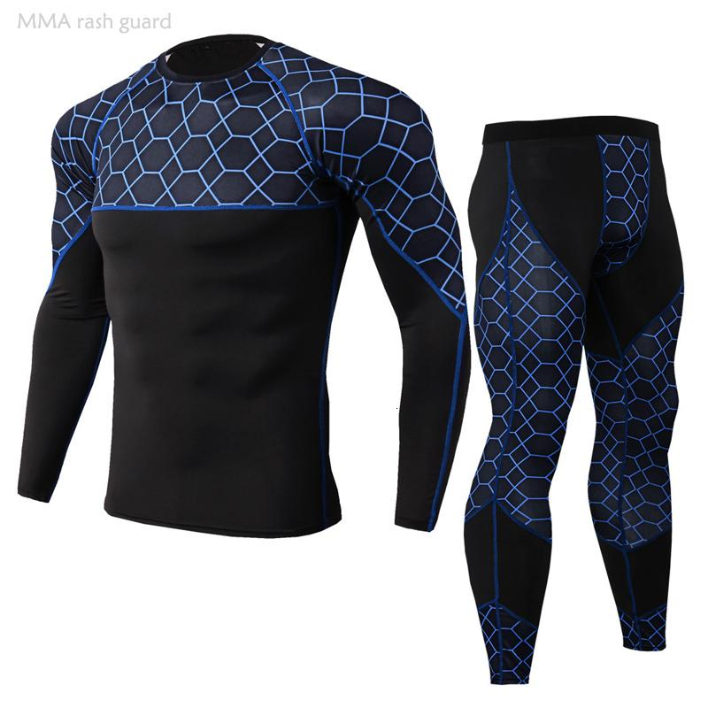 Venta caliente Compressie Sportkleding Herenkleding T-Shirt Lange Mouw Top Leggings Set Trainingspak MMA Rashard Kit JOOTGINGPAK