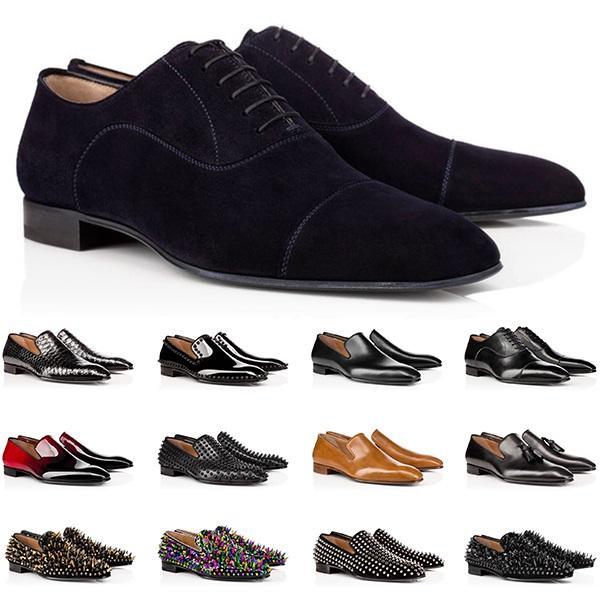 Tasarımcı Erkek Hakiki Deri Ayakkabı Kırmızı Dipleri Düşük Kesim Çivili Spike Elbise Ayakkabı Düğün Parti Erkek Eğitmenler Sneakers Online Satış