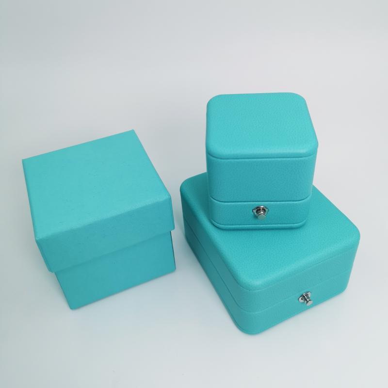 Exquisite Marka Mücevher Kutusu Yüksek Kalite Klasik Teklif T Marka Yüzük Kutusu Göl Mavi PU Deri Kolye Yüzük Ambalaj