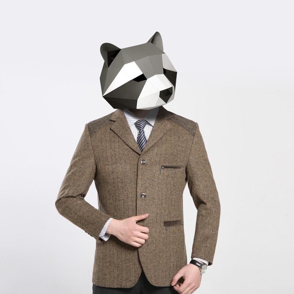 3D papel máscara moda traje animal traje cosplay diy papel ofício modelo máscara natal halloween baile festa presente