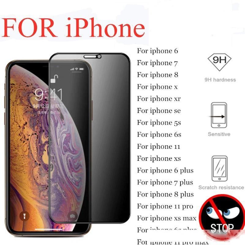 Protetor de tela privada de cobertura completa para iPhone 11 Pro X XS Max Xr Vidro temperado antiespy para iphone 11 6 7 8 mais vidro de privacidade