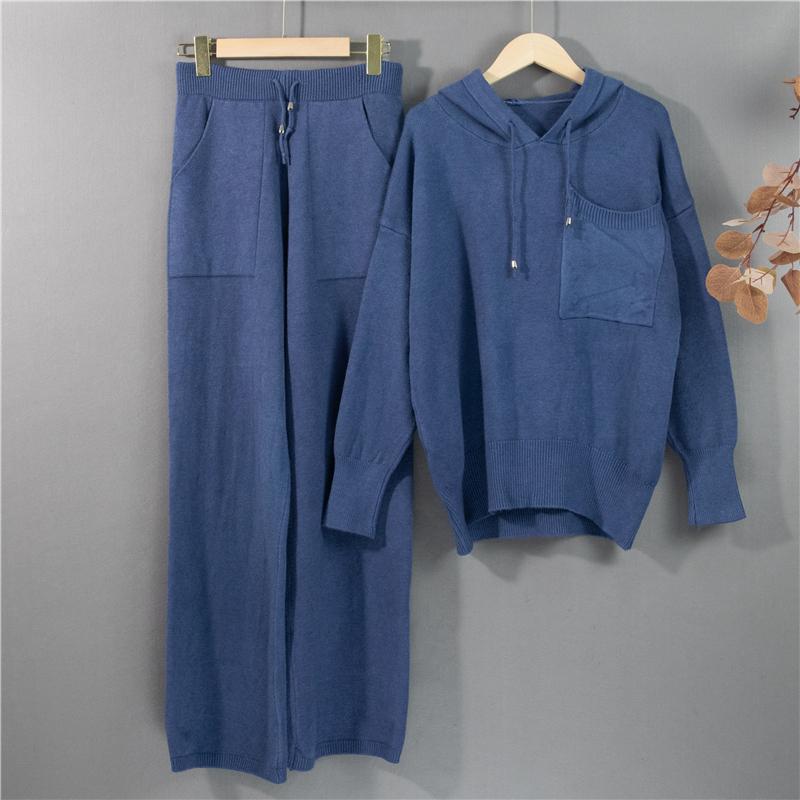 Faça o local! Ms Novo Inverno Quente Malha Com Capuz Sweater e Wide-Legged Tall Cintura Calças De Lazer