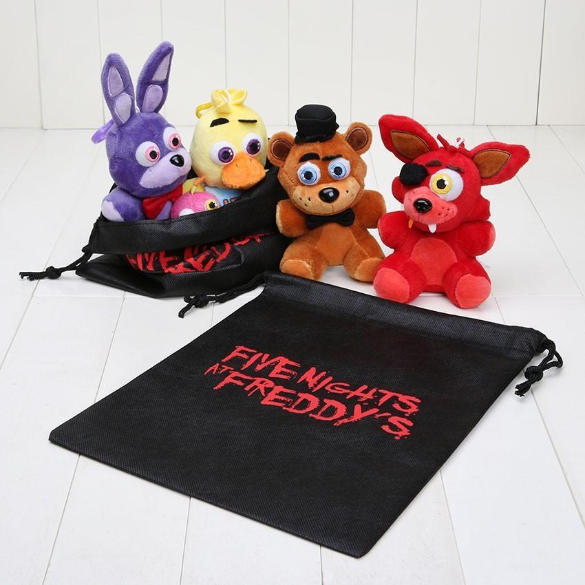 4шт / набор 14 см пять ночей на Фредди Фнаф Фокс медведь Бонни игрушки плюшевые подвески брелок куклы с сумкой Q1123