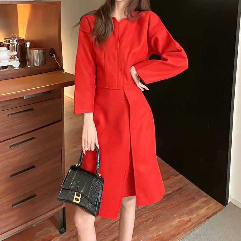 2021 otoño invierno mujeres moda traje señora naranja elegante jersey manga larga o-cuello tops suelto midi vestido femenino traje casual