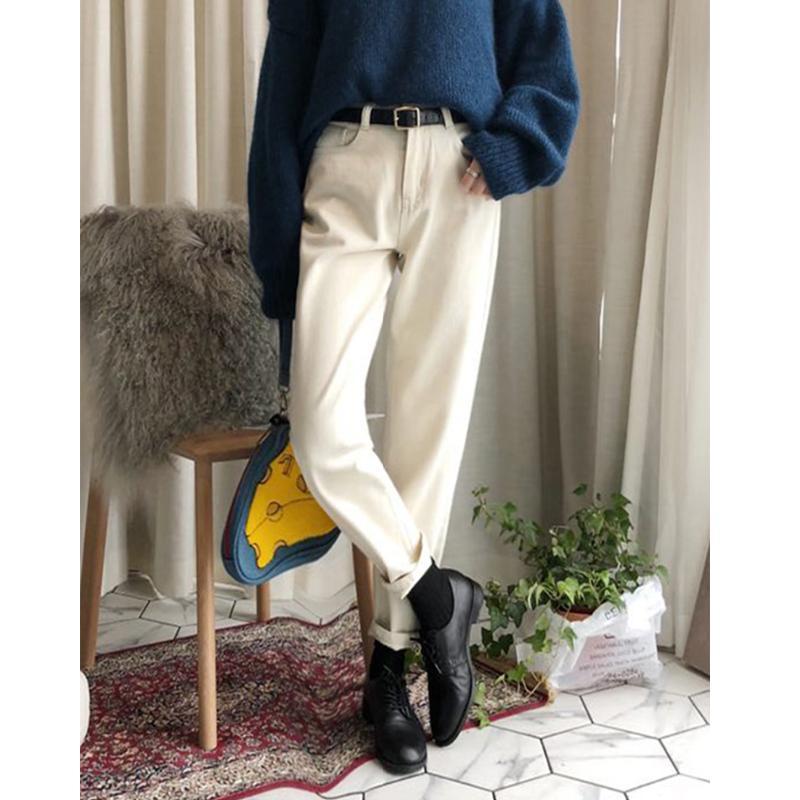 2021 Yeni Vintage Yüksek Bel Veet Düz Kot Pantolon Kadınlar Için Streetwear Kadın Denim Bayanlar Pantolon TCFC