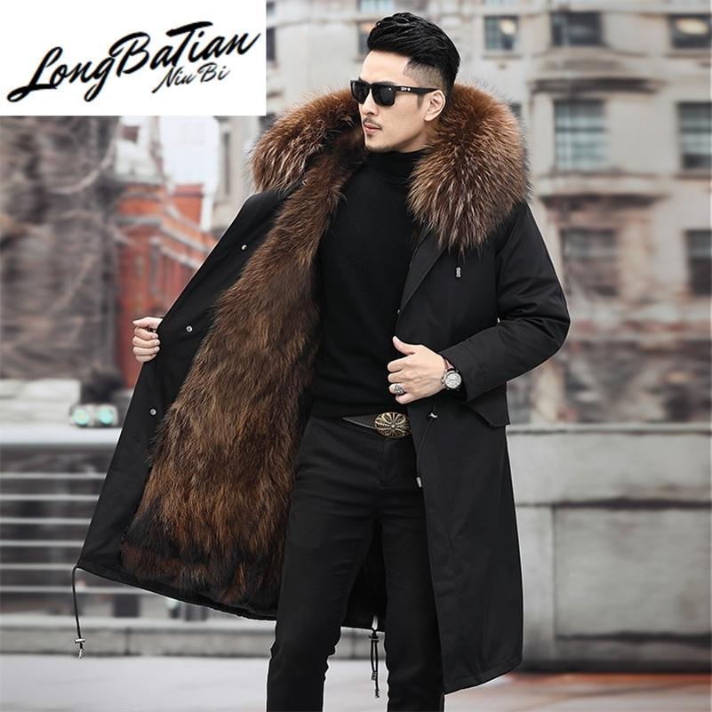 Pele real raposa casaco homens jaqueta 2020 vestuário dos homens roupas inverno homens grossos parkas com capuz casacos chaqueta hombre lj201217