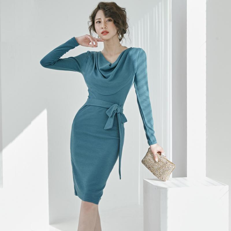 Элегантное леди платье синий вязать с длинным рукавом базовый тонкий простой базовый мода ежедневные женские платья 7730