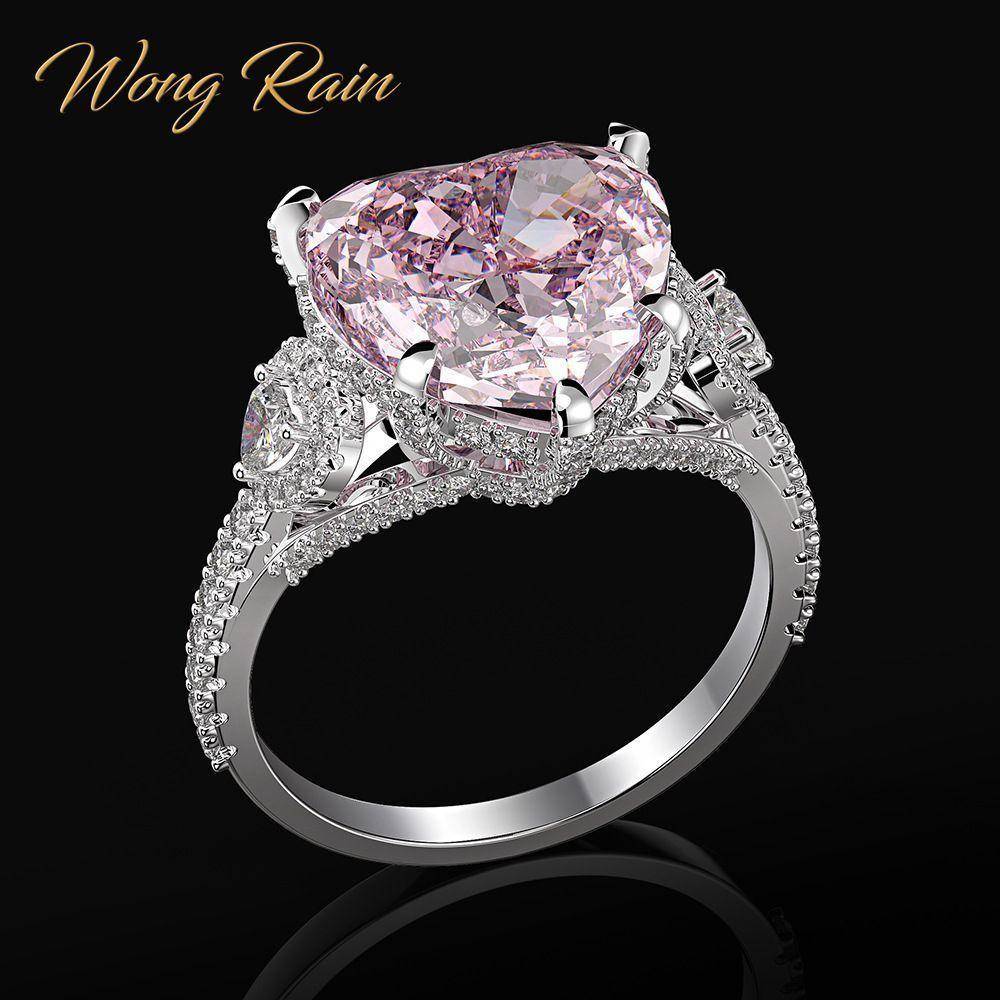 Wong Rain Romantic 100% 925 Sterling Silber Herz Rosa Sapphire Edelstein Hochzeit Engagement Diamanten Ring Feinschmuck Großhandel Z1121