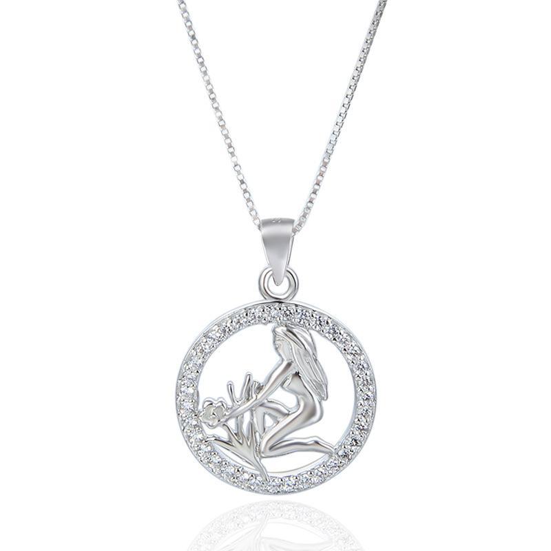 S925 Стерлинговое Серебряное Ожерелье Подвеска 12 Созвездие Выложить Талисман Сладкая Мода Женские Ювелирные Изделия