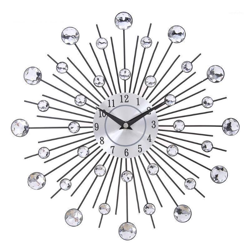13 بوصة فضة كريستال الشمس المعادن ساعة الحائط الأصلي خمر المعادن ديكور المنزل ساعة كريستال الحديد الماس رصع wall1