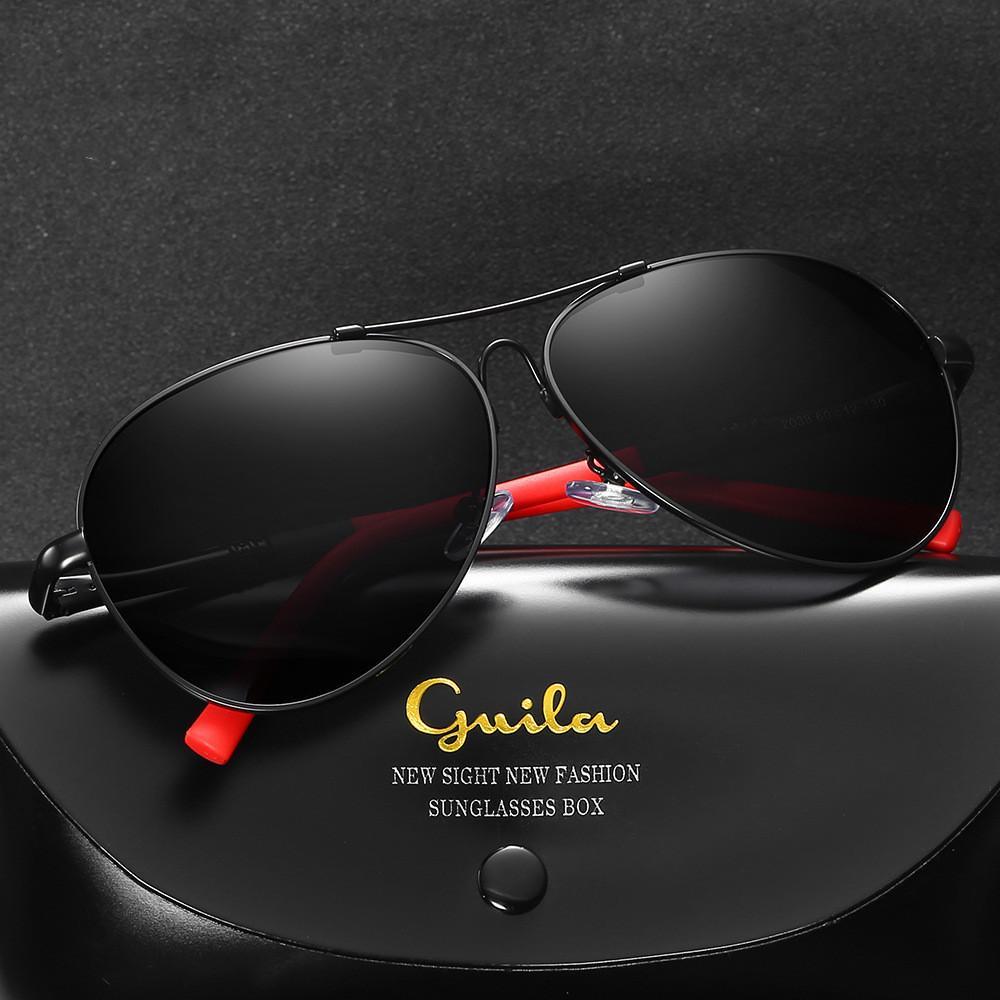 الأزياء الطيار الاستقطاب uv400 النظارات الشمسية الرجال الذاكرة إطار معدني الراقية الرجال طيار القيادة النظارات الشمسية مع صندوق