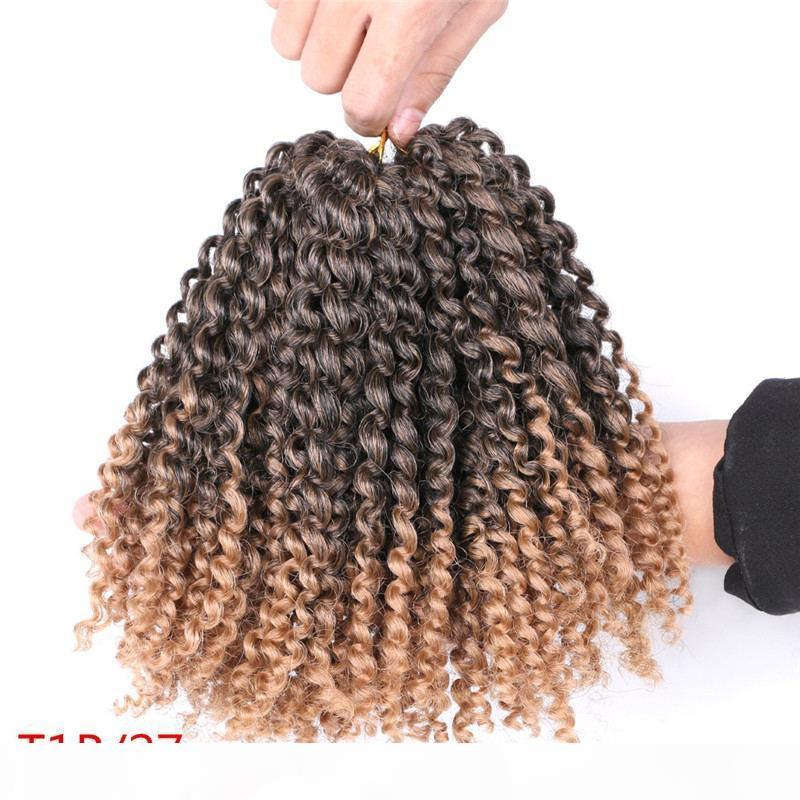 Yucan Crochet Braid Marlybob Crochet Crochet Cheveux Tressant Cheveux Synthétique Ombre Extensions de cheveux Afro Kinky Curly Africain