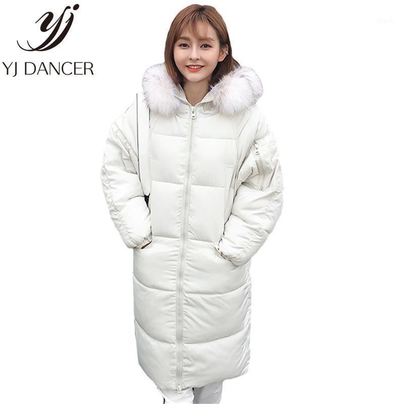 Женские Parkas 2021 Средняя длинная длинная секция зимняя мода женское теплое пальто сгущает стоящий воротник женская европейская америка одежда