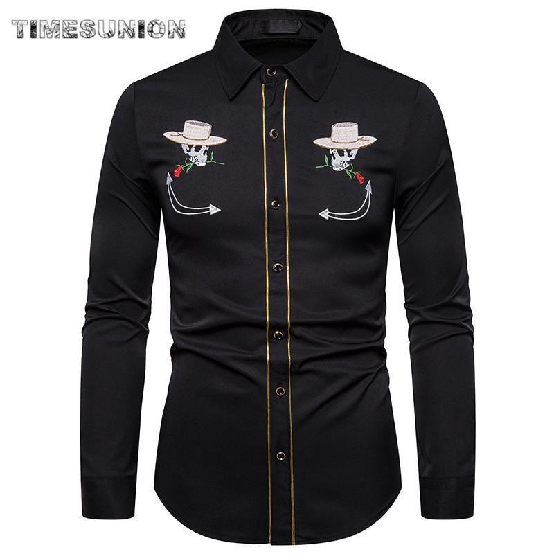 Hommes Western Cowboy Chemise Élégant Brodé Slim Fit Fit De Longues Chemises Hommes Marque Bouton Banquet Bouton Down Homme Homme
