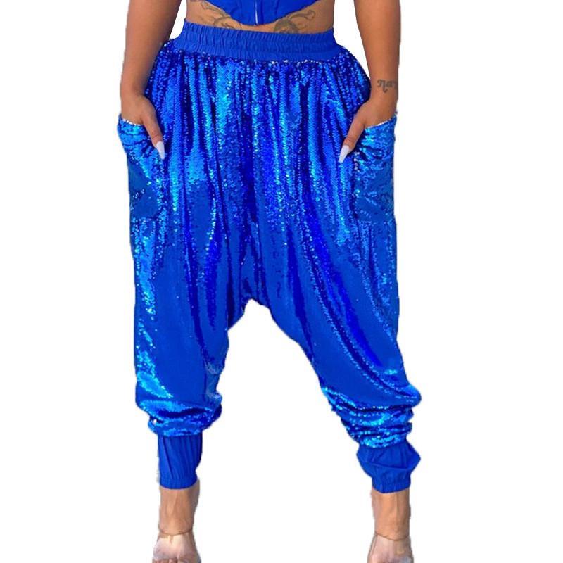 Hip Hop Style Womens Designer Pantalones Moda Color Sólido Pantalones para mujer sueltos Pantalones Casual Fémina Bling Ropa