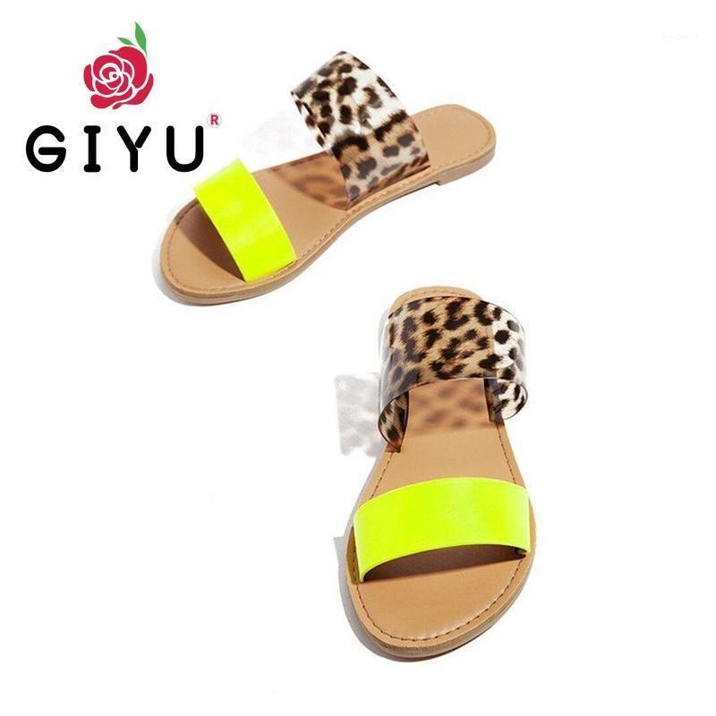 2021 Neue Frauen Sommer Hausschuhe Wohnung Gerade Sandalen Mode Leopard Drucken Frauen Schuhe Strand Casual Damen Plus Size Slippers1