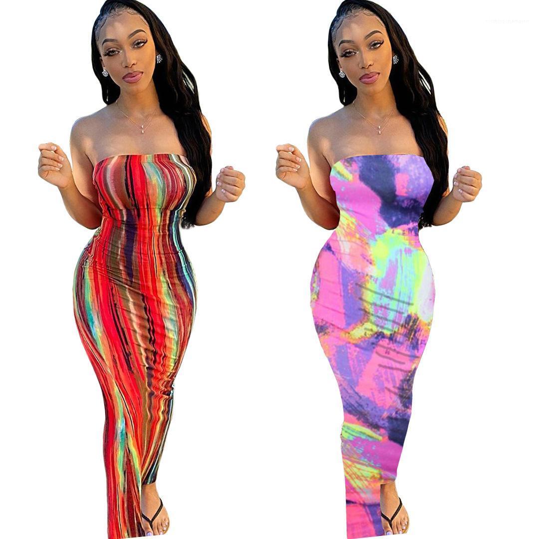 Dye Print Womens Dresses Sexy Sexy Manica Lunga senza spalline Sent Seno Wrapping Abito multi colore Abito moda Femminile Abbigliamento Cravatta