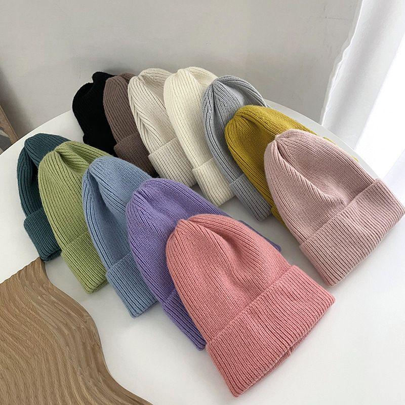 Зимняя шапка шляпа конфеты цвет мужские женщины вязаные черепные колпачки шерстяные теплые пары шапки мода Earflaps Streetwear высококачественные шляпы 2020